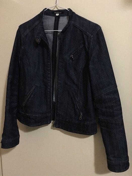 二手百貨專櫃Nice Claup深藍色騎士風牛仔外套 小立領單寧拉鍊夾克