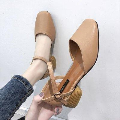 ZIHOPE 網紅包頭涼鞋仙女風學生百搭新款女鞋一字高跟鞋粗跟中跟ZI812