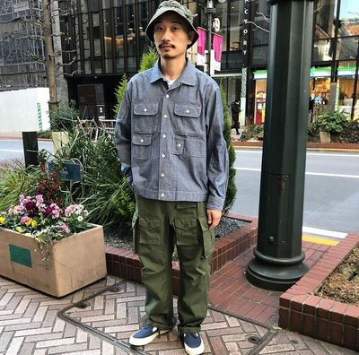 21SS ENGINEERED GARMENTS BLUE COTTON CHAMBRAY BOWLING SIZE:M