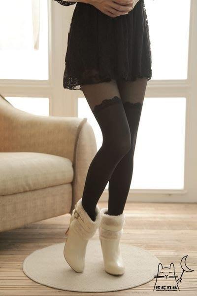 【拓拔月坊】日本品牌 Chaton Moe 花型波浪 假膝上 褲襪  日本製~現貨!