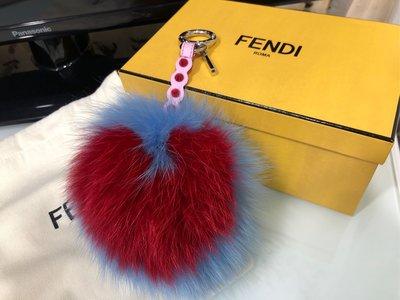 刷卡24期全新FENDI 芬迪bag bugs pom charm愛心皮草包包掛飾 鑰匙圈 現金9000