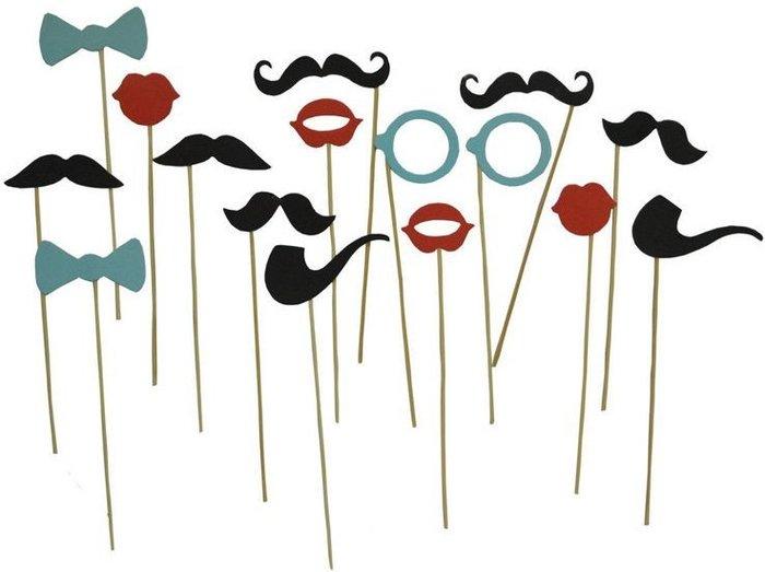 紙鬍子 (16款入) 拍照組 鬍子 領結 紅唇 婚禮 婚慶創意 禮品 節日派對 拍照 紙鬍子【P33001301】