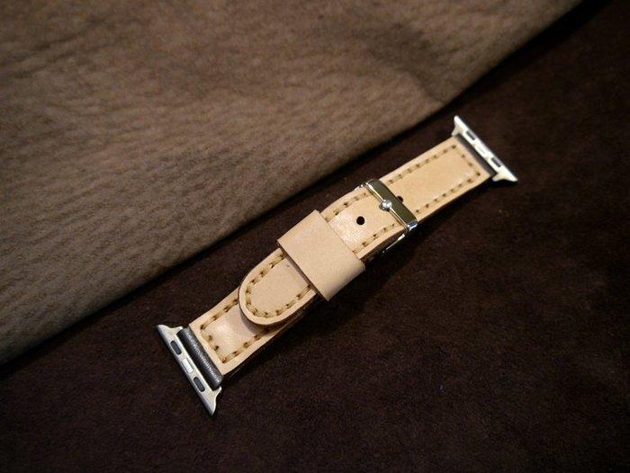KH手工皮革工作室 Apple Watch皮革錶帶 40/38mm替換錶帶全手工台灣製造MIT獨一無二非大量生產