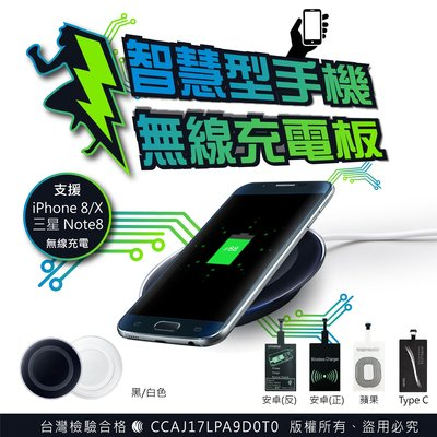 【刀鋒】現貨 手機無線充電板 附贈無線接收器 QI 無線充電器 充電盤 手機座充 蘋果系統 安卓系統 無線發射器