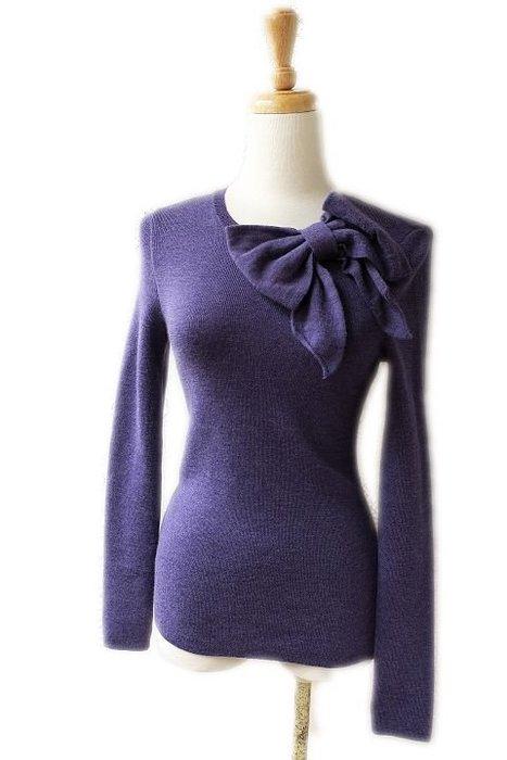 *Beauty*MOSCHINO紫色蝴蝶結長袖針織衫 PH