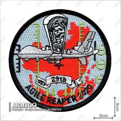 【ARMYGO】美國空軍 MQ-9 無人機攻擊中隊(2020 MQ-9 Reaper)死神演習 部隊章(背面已車魔鬼氈)