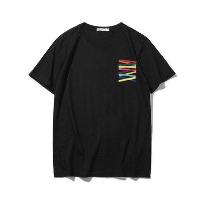 夏裝潮牌新款個性創意假口袋印花短袖T恤男學生棉質圓領體恤半袖   全館免運