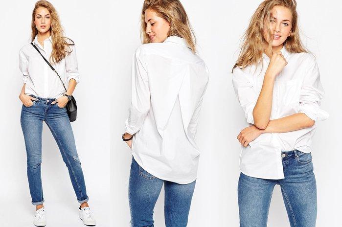 ◎美國代買◎ASOS倒V壓摺飾的背部設計口袋裝飾經典百搭個性風白色襯衫~歐美街風~大尺碼