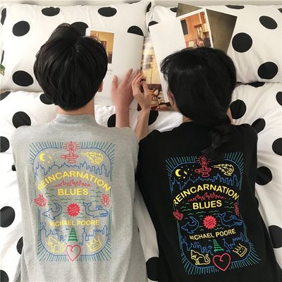 韓版寬松顯瘦后背印花中長款情侶短袖T恤 女