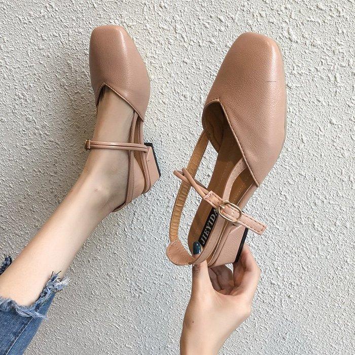 創意 氣質兩穿女涼拖夏季新款時尚外穿半拖鞋女百搭粗跟包頭網紅奶奶鞋