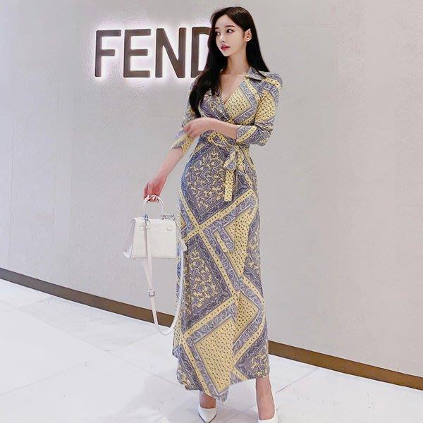 連身裙 #J-049 V領七分袖收腰顯瘦OL設計款