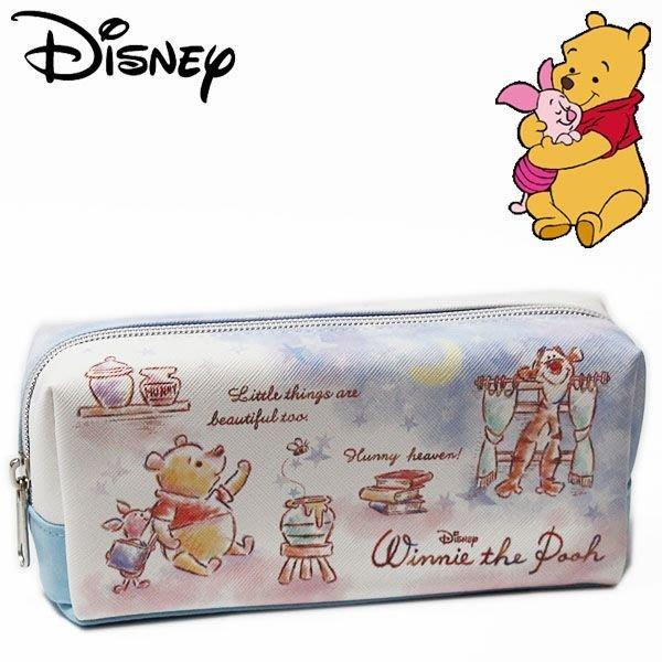 迪士尼Disney《現貨》維尼夜空 仿皮革筆袋 化妝包 小物包~日本正品~心心小舖