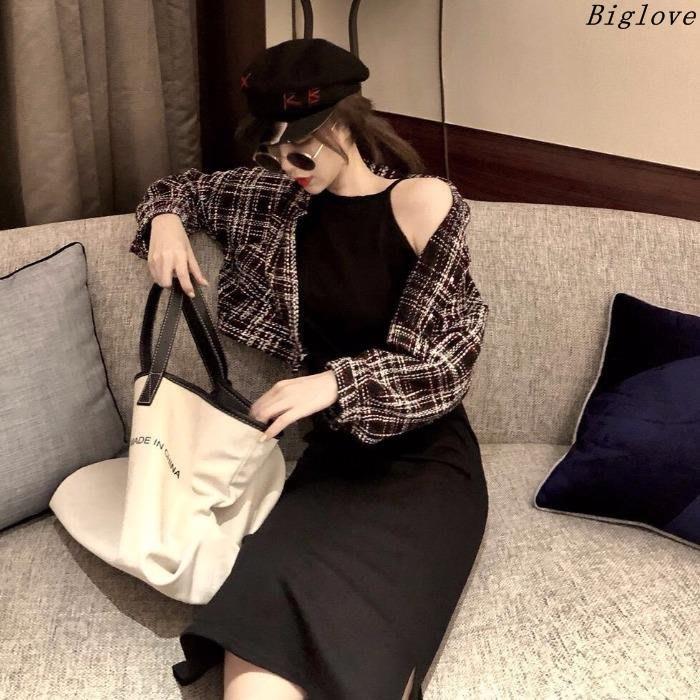 網紅套裝女春季新款復古格子毛呢短外套中長款百搭吊帶打底連衣裙