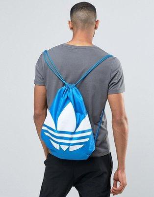 【正品附實圖】愛迪達Adidas Drawstring Backpack 藍白 束口袋 後背包 三葉草 非黑二手書包ck手提旅行李箱斜肩男女a...