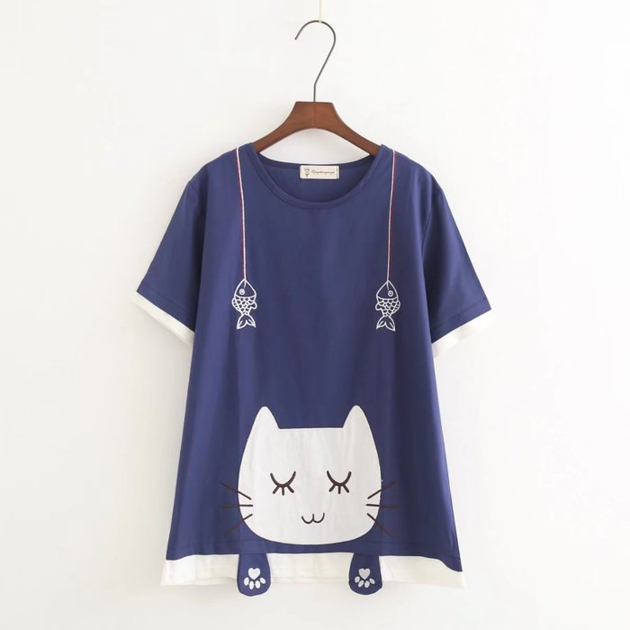 ☆紫米粒小舖☆【RC3582】圓領 日系森女系可愛貓咪短袖上衣。(預購)