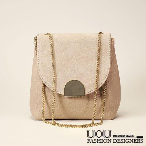 *UOU精品*韓國時尚款 金屬美型質感仿麂皮拼接皮革小方包側背包‧2色【K059】