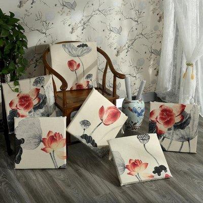 中式紅木沙發坐墊棉麻田園風實木椅子可拆洗茶樓椅子坐墊