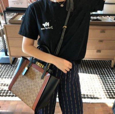 Alina代購 COACH 78487 62936 新款女士Troupe手提包 PVC配牛皮單肩斜挎包  附購證