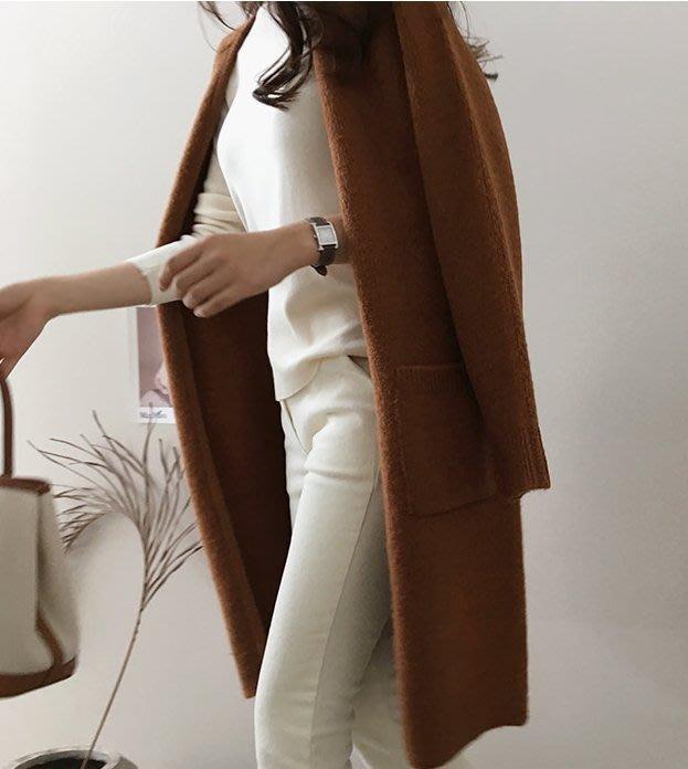 Gigi歐尼 韓國代購 【 BHN1779  】正韓   混編毛料長版開襟毛衣外套(2色)