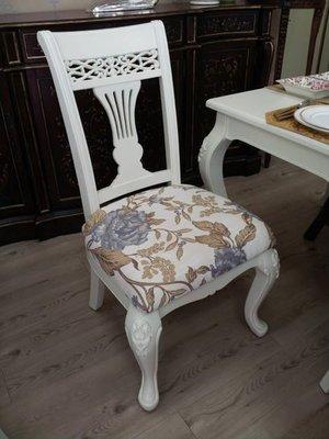 OUTLET限量低價出清美生活館-- 全新古典維多利亞莫莉白色浮雕 餐桌椅組--餐椅