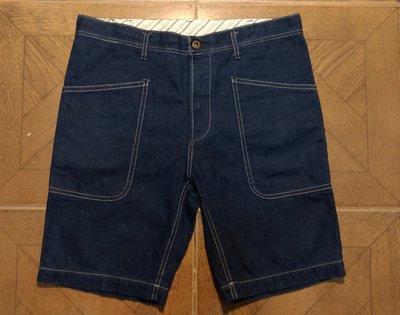 日本製保證真品GLAD HAND NAVY UTILITY SHORTS丹寧牛仔復古布料美軍海軍甲板大口工作短褲