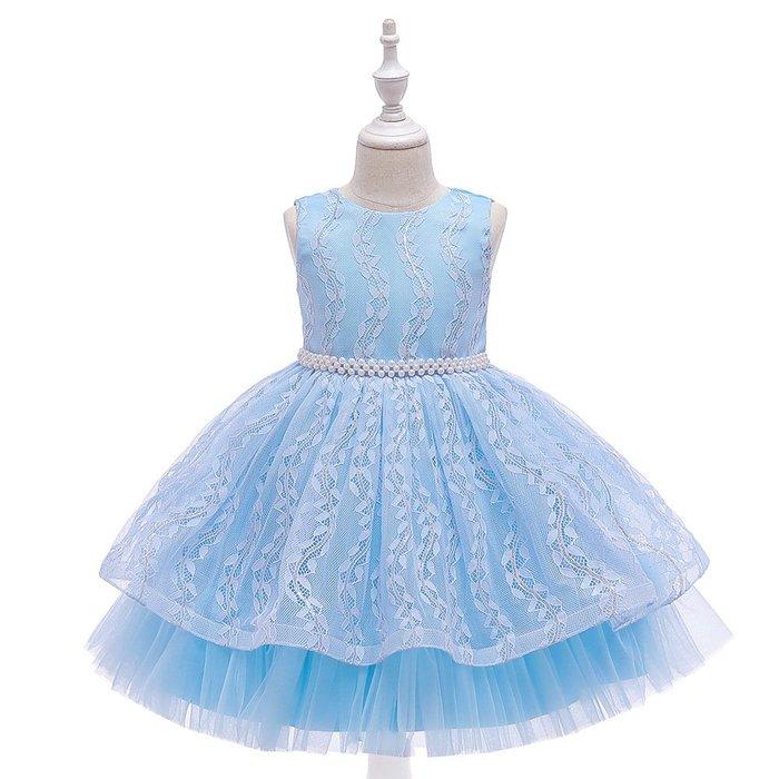 •*~ 辣媽咪衣飾小舖 ~*•❤童裝系列❤K670454韓版大童夏款甜美清新時尚蓬蓬蕾絲亮片可愛公主禮服公主洋裝