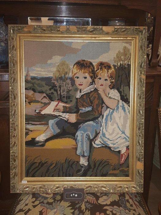 【卡卡頌 歐洲跳蚤市場 / 歐洲古董 】比利時老件_ 孩童 手工針織 十字繡 掛畫 pa0112