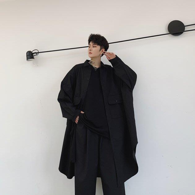 FINDSENSE 2019 秋季上新 G19 日系暗黑簡約百搭長袖大口袋寬鬆襯衫外套素面襯衫大尺碼寬鬆男裝 上衣