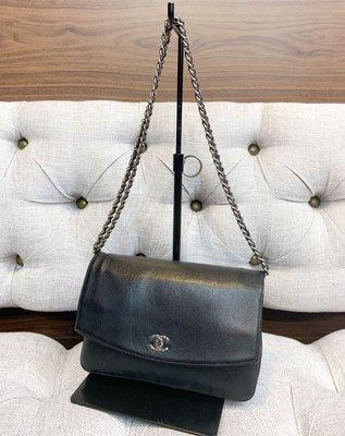 Chanel 二手真品 銀鍊 牛皮 woc 斜背 肩背 鍊帶包