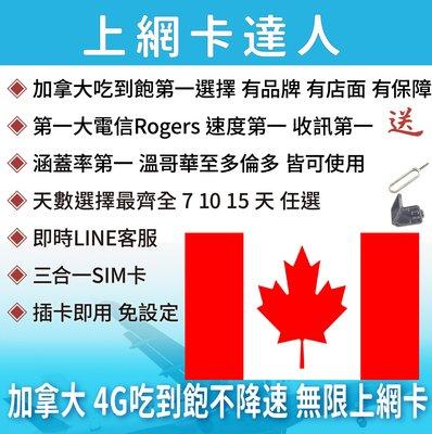 7天 上網卡 高速4G 吃到飽 不降速 加拿大 溫哥華 多倫多 全境皆可用 即插即用免設定