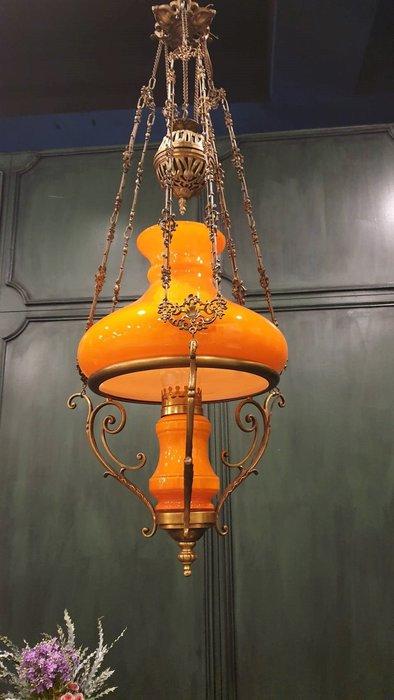 【卡卡頌  歐洲古董】Rare! 法國老件 ~ 吸睛 酷橘 可調高低  油燈造型 銅雕 吊燈l0355 ✬