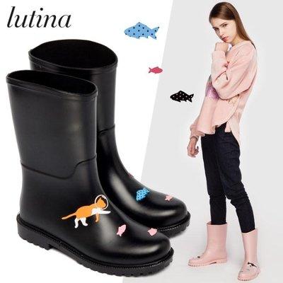 時尚手繪風女式中筒雨靴水靴水鞋成人膠鞋防滑雨鞋