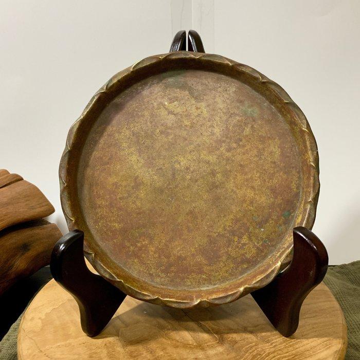 緬甸古董老件 手工老銅盤 紅銅 圓盤 銅器