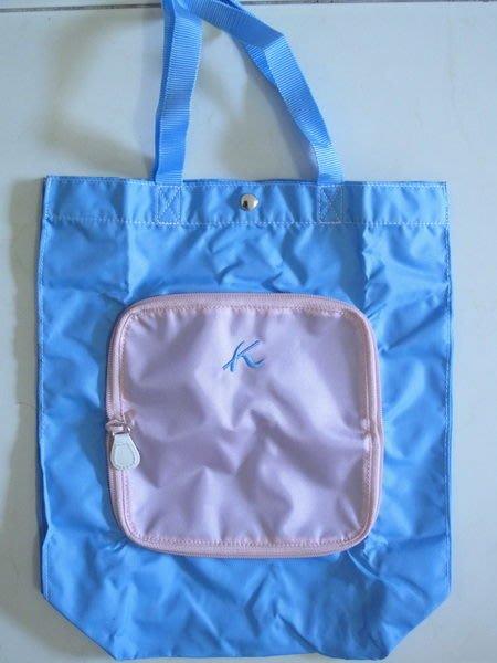 天使熊小鋪~日本帶回Kitamura亮粉藍色摺疊包 購物包 托特包~原價1250元