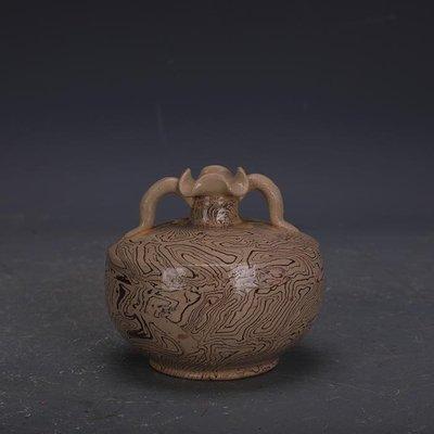 【三顧茅廬 】唐代灰地全手工絞胎瓷雙系瓶 文物出土古瓷器古玩古董收藏品