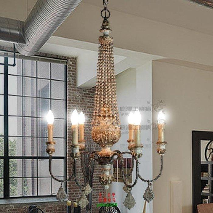 {美學}美式鄉村復古工業風地中海歐式木頭珠水晶吊燈(小號)MX_1122
