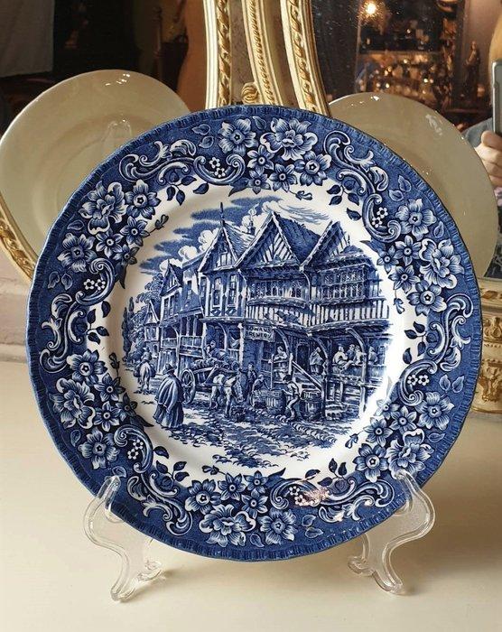 【卡卡頌 歐洲古董】英國 Royal Tudor  藍白  青花  鄉間風情  瓷盤  飾盤    p1897 ✬