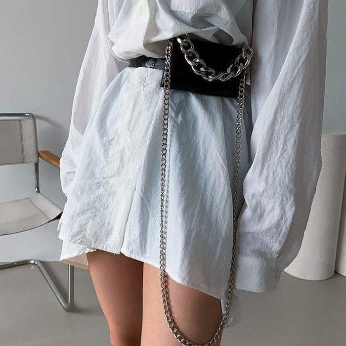 SeyeS  街頭簡約帥氣隨興時尚感迷你粗鍊斜背包/腰包