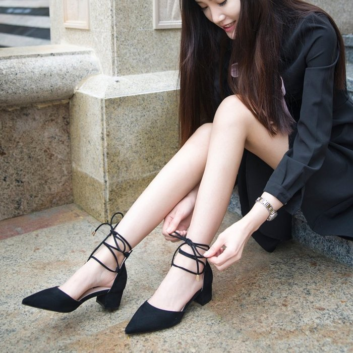 涼鞋 尖頭粗跟高跟鞋  交叉帶羅馬涼鞋—莎芭