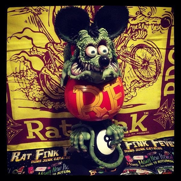 (I OVE樂多)(全球限量50体)RAT FINK RF8號球老鼠芬克雕像(手工精雕極具收藏價值)
