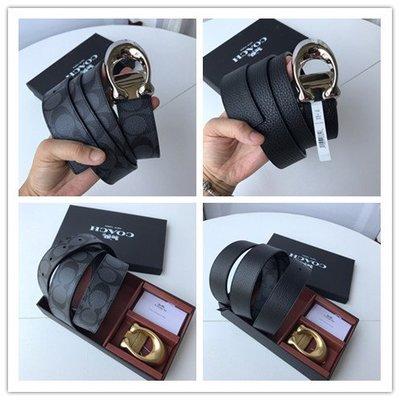 【八妹精品】COACH 35108 新款雙面用皮帶 扣頭可扭動 簡單大方 男士腰帶