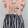 Jill。Daisy 女童小飛袖兔兔拼接條紋洋裝 C...
