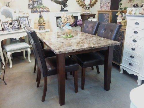 OUTLET限量低價出清--全新 新古典 喬伊4.5尺原木優質石面長方餐桌--促銷 優惠 6800 元