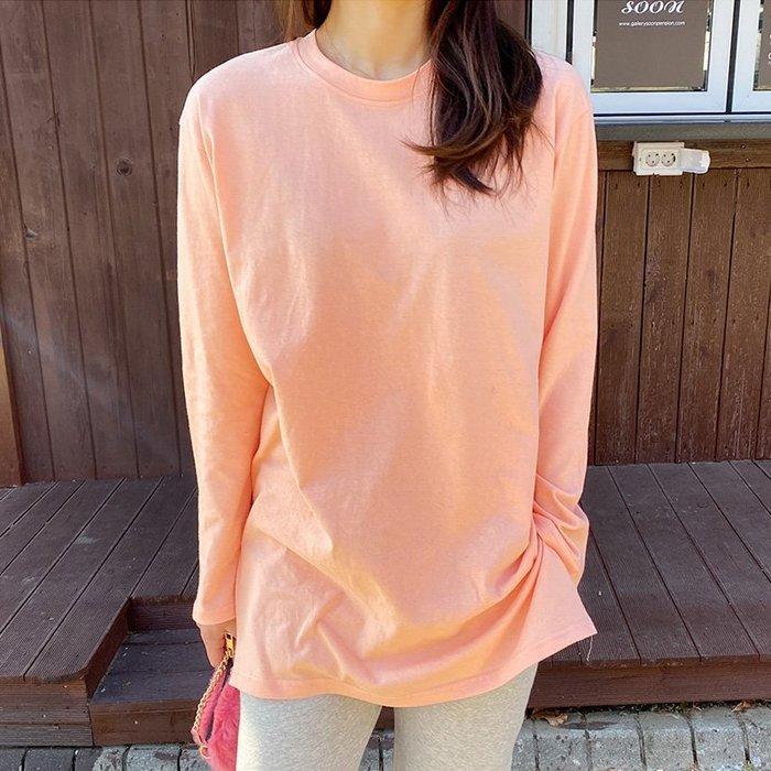 圓領T恤 正韓 100%全棉長版單穿或內搭側開側上衣 艾爾莎【TLS00396】