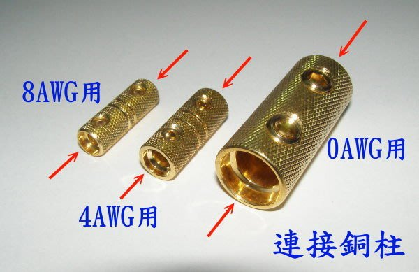 ☆精巧汽音☆電源線0AWG/4AWG/8AWG連接銅柱