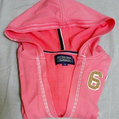 POLO JEANS品牌粉橘美式刷毛V領連帽T恤 二手 專櫃 正品 S號 女生 出清 直購 現貨