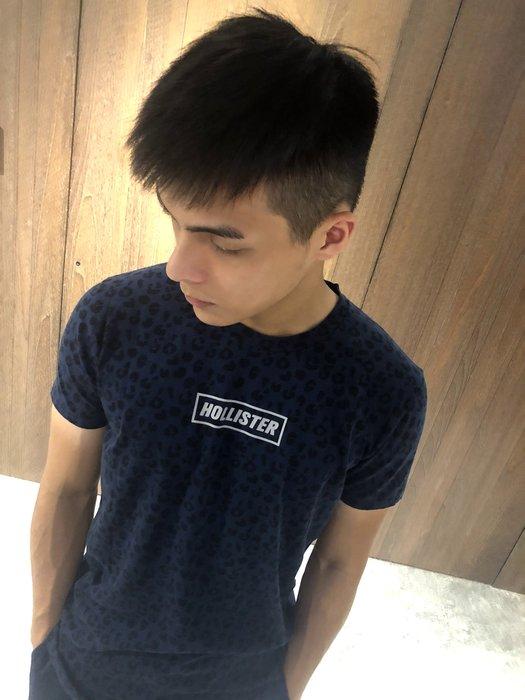 美國百分百【Hollister Co.】T恤 HCO 短袖 T-shirt 海鷗 豹紋 圓領 藍色 S號 J221