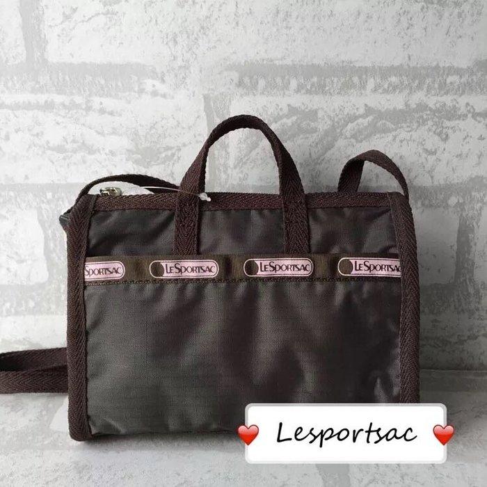 LeSportsac 3273 咖啡色 迷你斜背手提防水兩用包 限量