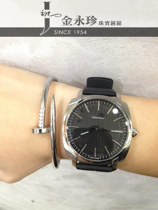 金永珍珠寶鐘錶*CK手錶Calvin Klein 原廠真品 K5M311C1 金宇彬配戴錶  廣告主打款 黑面皮錶帶*