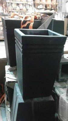 【森紅園藝】8吋 水泥花盆(造景水磨石材質)正方錐形線邊 白/黑 PS.植草磚.平板磚.塑膠花盆
